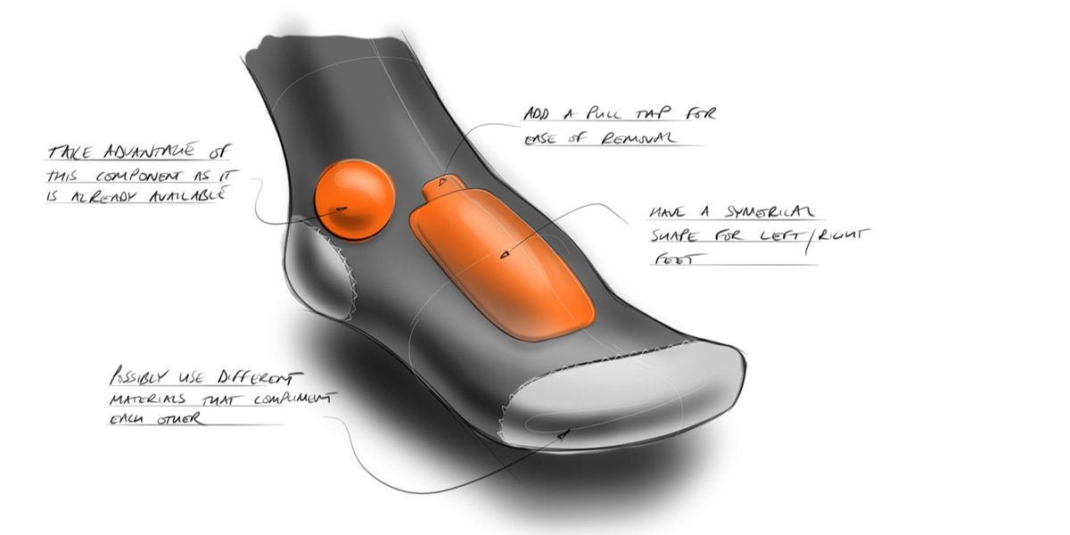 concept design sketch of a metatarsal protector